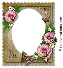 old vintage paper frame with flowers isolated on white - old...