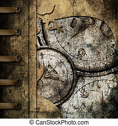 grunge abstract background with antique clocks