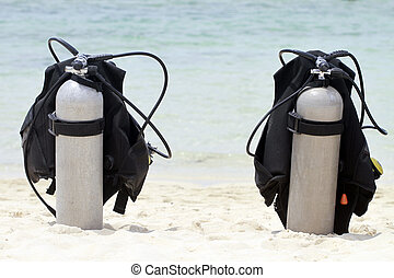 Scuba Tanks  - Two scuba tanks at the beach
