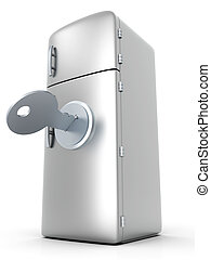 Locked Fridge - A locked, classic Fridge. 3D rendered...
