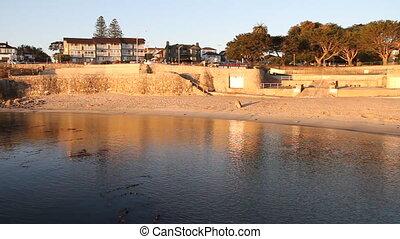 rocky shoreline at sunrise