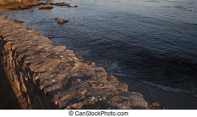 calm ocean near houses on rocky shoreline
