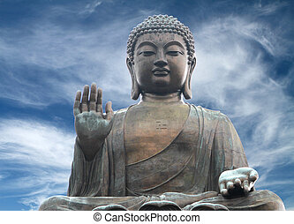 Big Buddha - The Tian Tan Buddha in Hong Kong in a dramatic...