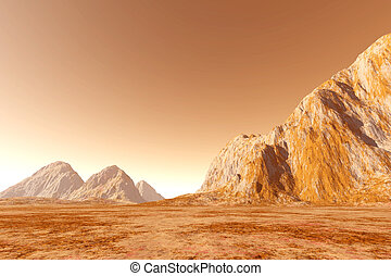 Mars - Virtual landscape on the Mars. 3D rendered...