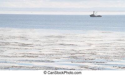 fishing boat travels on calm ocean