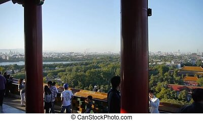 panoramic views of Many tourists people at China ancient...