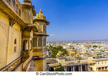 view to ancient city of Udaipur from the Kumbhalgarh Fort -...