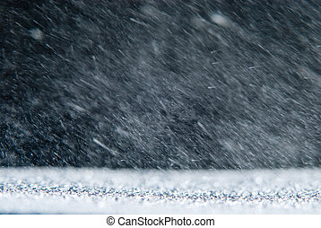 Natural background with rain snowstorm in the dark