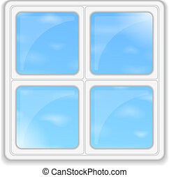 Window with blue sky, vector eps10 illustration