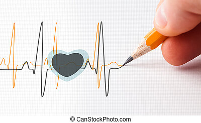 Black and yellow heart beat line drawn with a pencil
