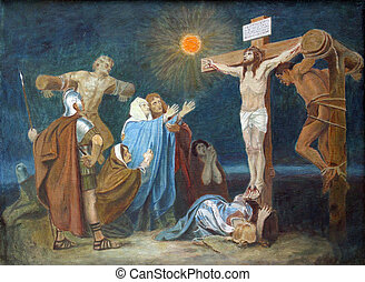 12th Station of the Cross, Crucifixion: Jesus is nailed to...