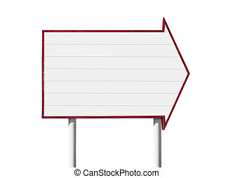 Giant Blank Arrow Sign - Giant blank arrow sign isolated...