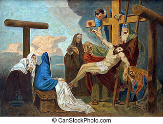 13th Station of the Cross, Jesus' body is removed from the...