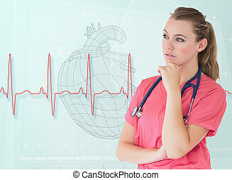 Portrait of a nurse thinking with a heart sketch behind her
