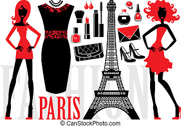 Fashionable set with silhouettes of women, cosmetics and bag