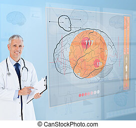 Doctor using a futuristic interface for brain analysis -...