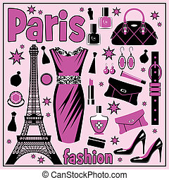 Paris fashion set - Set of images of different accessories...