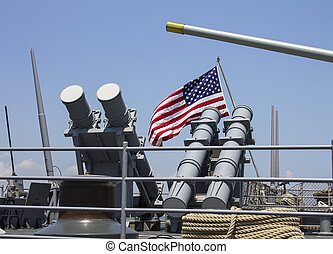 Harpoon cruise missile launchers on the deck of US Navy...