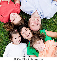 Family - Mother and father with three daughters