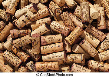 pile of corks - Close-up shot of stack of wine stoppers