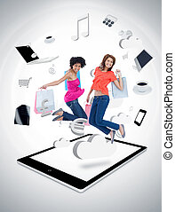Two smiling women jumping on a tablet pc against a digital...
