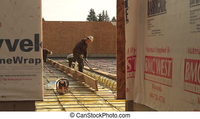 construction crew prepares concrete forms