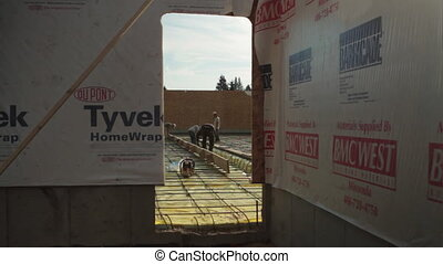 construction crew prepares concrete forms