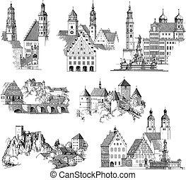 Medieval Urban Scenics - Drawing or engraving collection of...