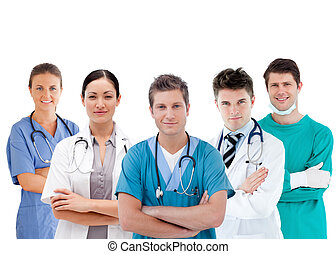 Group of hospital workers standing in line on white...