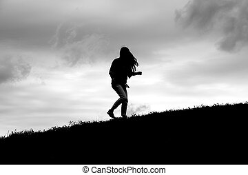 Silhouette of Girl Turning - Silhouette of girl turning...