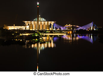 Putrajaya view from putrajaya bridge at night with a...