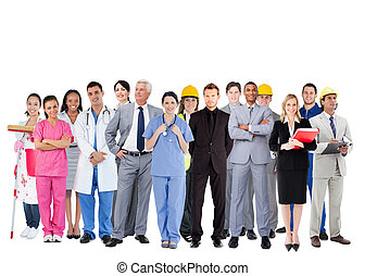 Smiling group of people with different jobs on white...