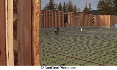 preparing for concrete pouring