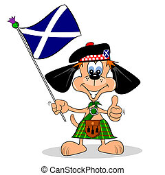 Scottish Cartoon Dog - A cartoon dog in a kilt with the flag...
