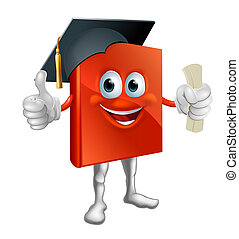 Graduation book mascot - Cartoon graduation book education...