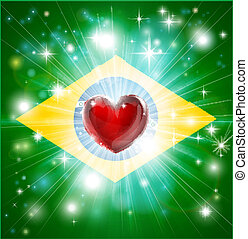 Love Brazil flag heart background