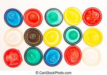 Muchos, diferente, Condones, coloreado