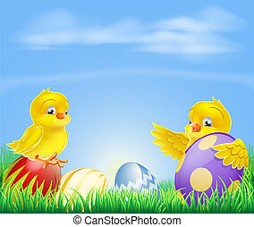 Chickens and Easter eggs Background - Cute cartoon happy...
