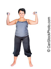 fitness for fat woman - fat woman workout with dumbbells