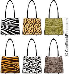 Animal skin handbags - Handbags in various prints: tiger,...