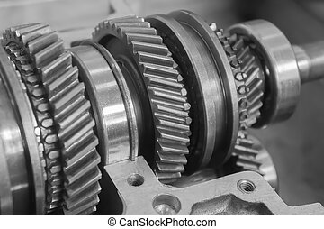 mechanical gear in black and white