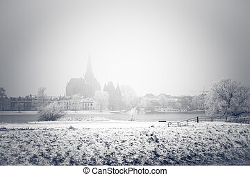 Wintry City front in Holland - Just the cityfront of Kampen...