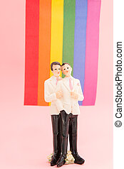 Gay groom cake toppers in front of rainbow flag on pink...