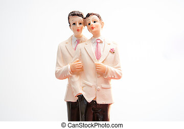 Gay groom wedding cake topper on white background