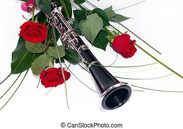 vermelho, rosas, clarinete