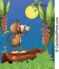 A monkey looking at the moon - Illustration of a monkey...