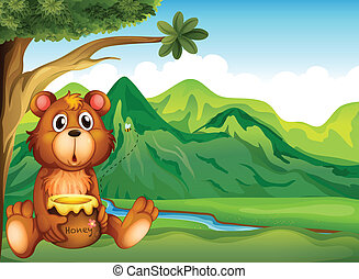 A bear in the riverbank - Illustration of a bear in the...