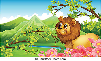 A lion in a mountain view