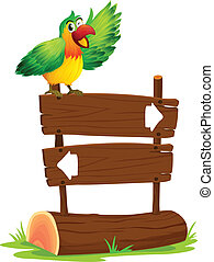 A parrot above a sign board - Illustration of a parrot...