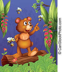 A bear and bees in the forest